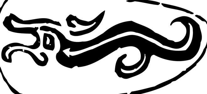 龙和狮子标志矢量图