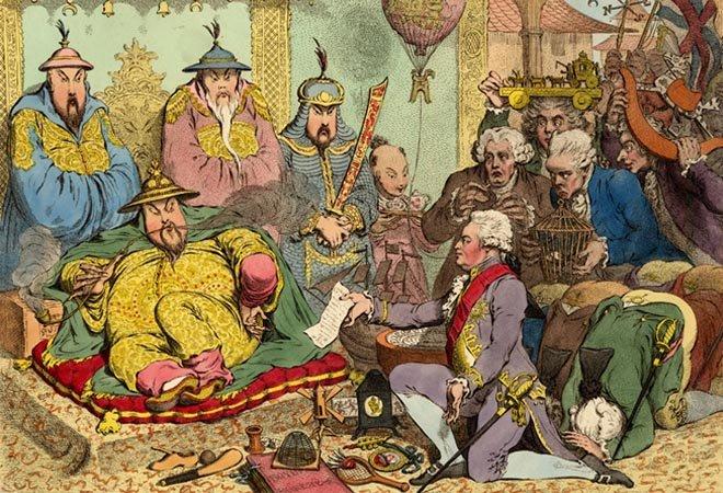 西方描繪馬戛爾尼覲見乾隆的漫畫