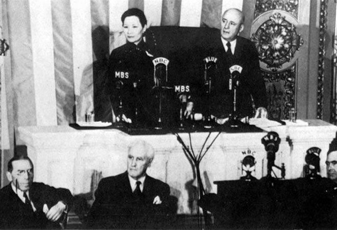 1943年,宋美龄在美国国会发表演讲