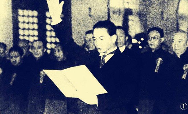 1940年3月30日,伪国民政府建立,汪精卫发表讲话