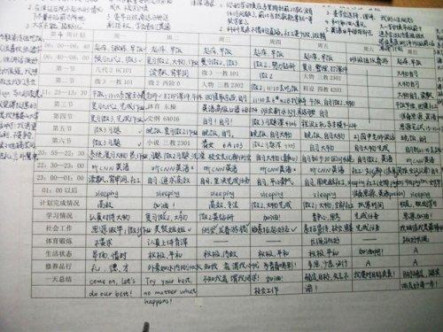 """清华学霸姐妹花密密麻麻的""""学习计划表"""""""