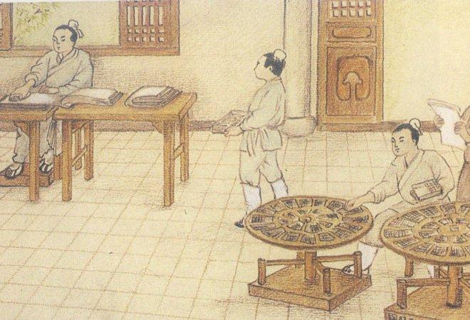 元朝时绘制的活字印刷流程图