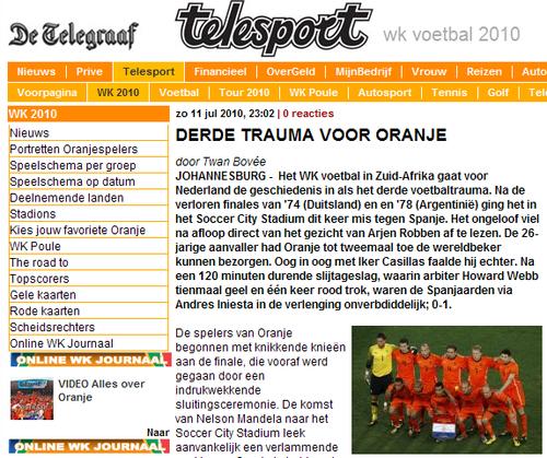 荷媒:荷兰遭受第三次创伤 今日韦伯出尽风头