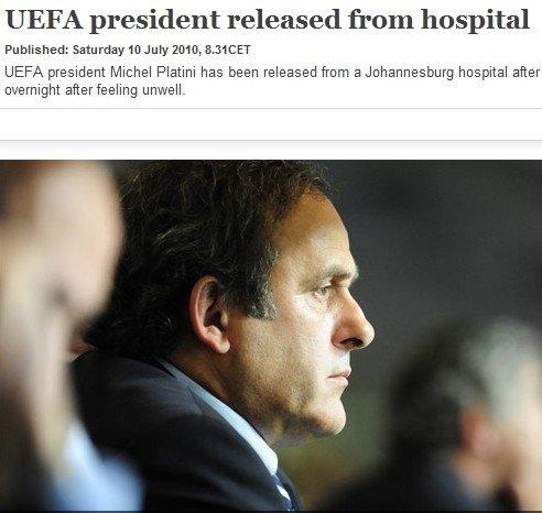 欧足联宣布普拉蒂尼出院 仍将出席世界杯决赛