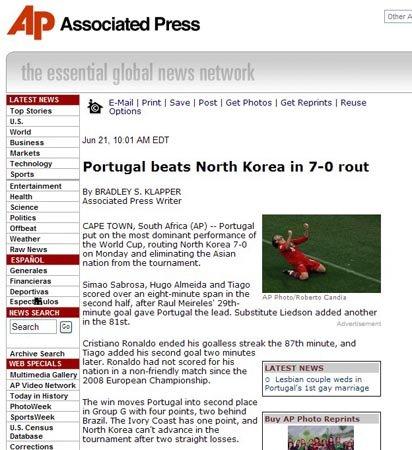 美联社:0-7惨败于巴西 朝鲜直播的不适时宜
