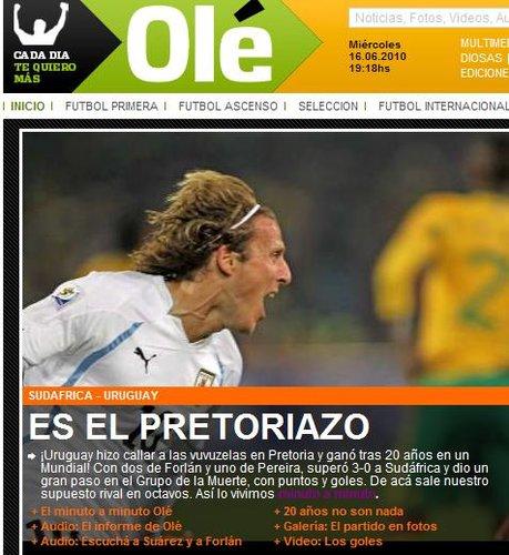 奥莱报:20年后再尝胜利 乌拉圭接近八分之一