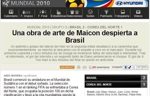 阿斯报:艺术家麦孔唤醒巴西 一场艰难的胜利