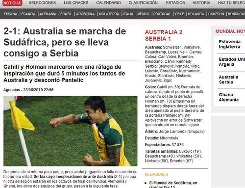 世界体育报:澳队以首胜与塞队携手悲情出局