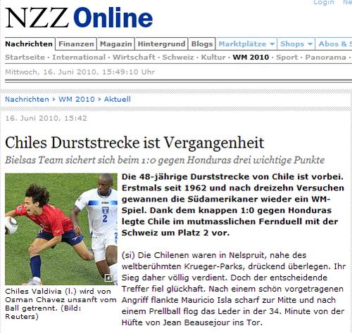 瑞士媒体:48年不胜今日终结 智利将走的更远