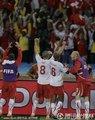 瑞士球员高举双臂