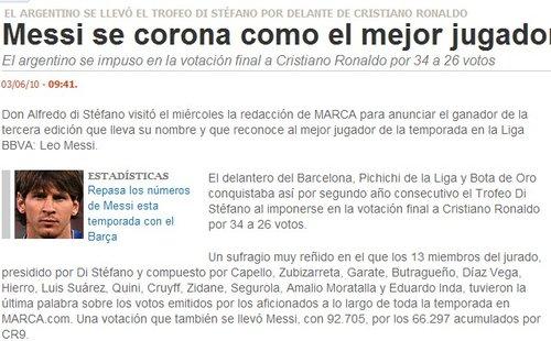 梅西当选西甲年度最佳球员 领先C罗优势达8票