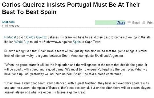 奎罗斯誓言击败西班牙 西葡对决堪比南美德比