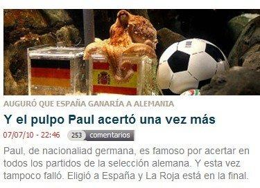 西媒感谢章鱼神奇预测 2年2次助西班牙胜德国