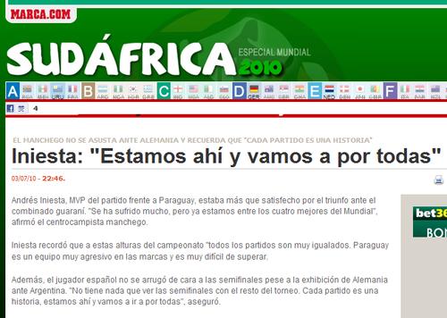 伊涅斯塔:巴拉圭非常难缠 半决赛势在必得