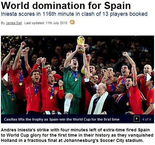 天空体育:西班牙登顶世界杯 伊涅斯塔献绝杀