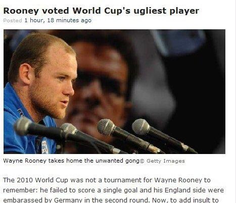 鲁尼当选世界杯最丑陋球员 意大利队长最帅气