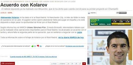 科拉罗夫将加盟皇马