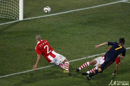 图文:巴拉圭0-1西班牙 比利亚补射一剑封喉