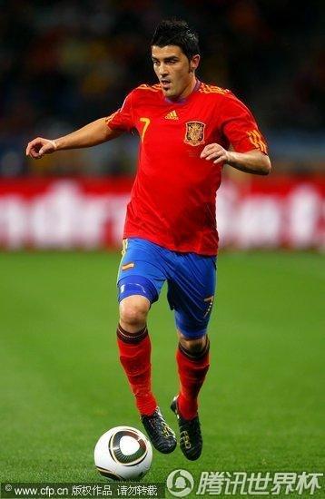 图文:西班牙VS葡萄牙 比利亚带球_世界杯图片