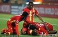 加纳队员庆祝胜利