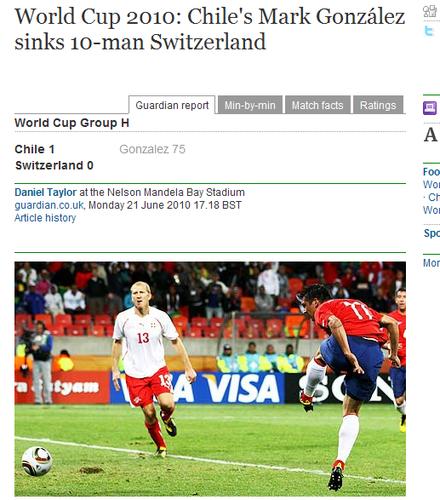 卫报:智利攻势足球开轰 瑞士队失利只因红牌