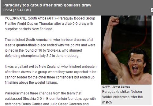 法新社:巴拉圭队稳步出线 新西兰队不败出局