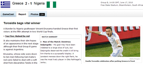 espn:尼日利亚1-2希腊 一张红牌改变了局势