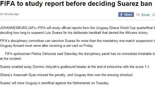 苏亚雷斯手球红牌情节恶劣 FIFA将追加其禁赛