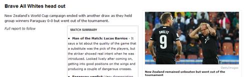 espn:巴拉圭小组第一 新西兰过于保守终出局