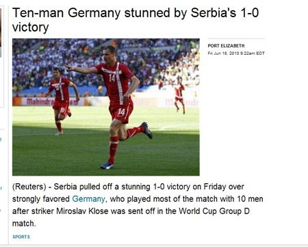 路透社:德国染红败北 塞尔维亚有望走出低谷