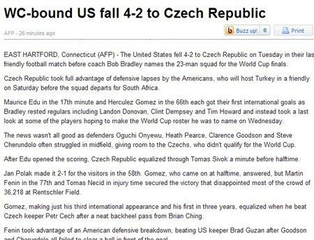 法新社:美国后防依旧空虚 捷克取胜势在必得