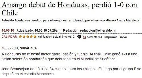 洪媒:洪都拉斯首战失利 缺乏勇气激情和力量