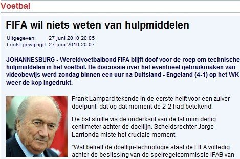 曝英德战后FIFA紧急开会 1小时便否决电子眼