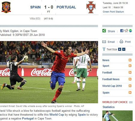 每日电讯报:比利亚光辉暗淡C罗 西班牙险胜