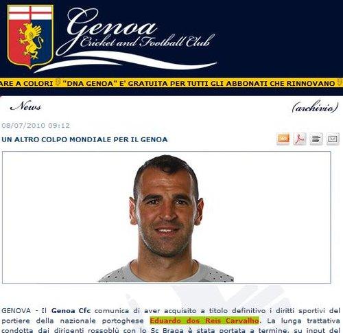 热那亚官方宣布签葡萄牙国脚 头号门神终现身