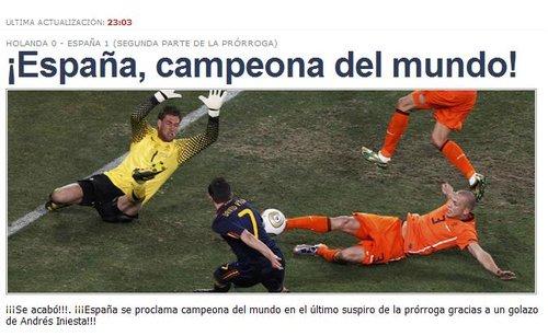每日体育:世界冠军西班牙 此生最美妙的时刻