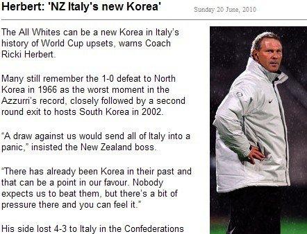 新西兰主帅:朝韩是榜样 靠定位球搞定意大利