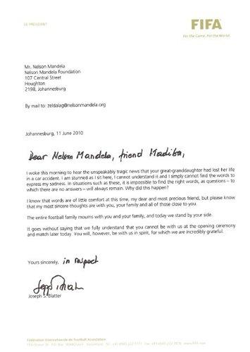 布拉特写信慰问曼德拉:感到震惊 请节哀顺变