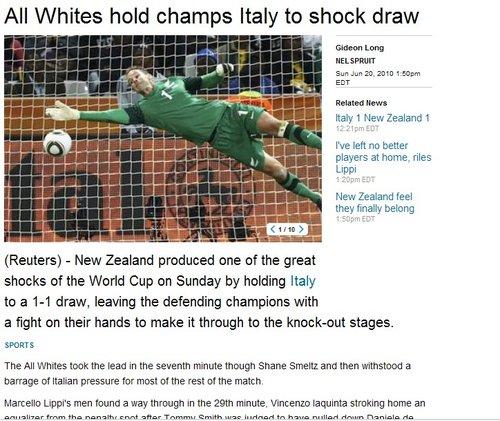 路透社:新西兰率先破门 意大利颜面尽失