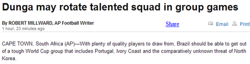 外媒:巴西小组赛就2场 拿下科特迪瓦便出线