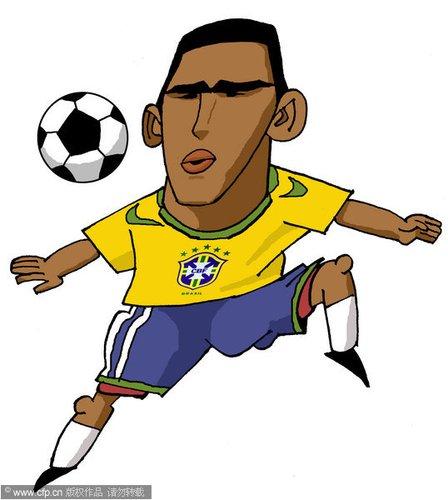 漫画:世界杯球星脸谱 卢西奥