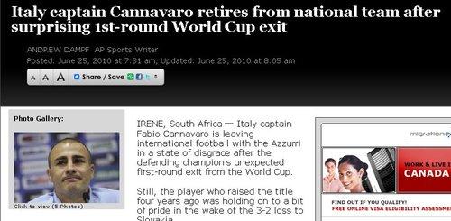 卡纳瓦罗正式退出国家队 布冯接任意大利队长