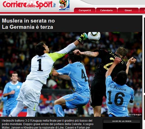 罗马体育报:拉齐奥门将失常 乌拉圭虽败犹荣