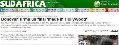 马卡报:多诺万绝杀好莱坞制造 美国晋级16强