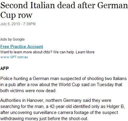 德球迷枪击案再传噩耗 第二名意大利球迷死亡
