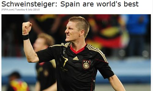 施魏因施泰格赞西班牙无人敌 短信祝荷兰晋级
