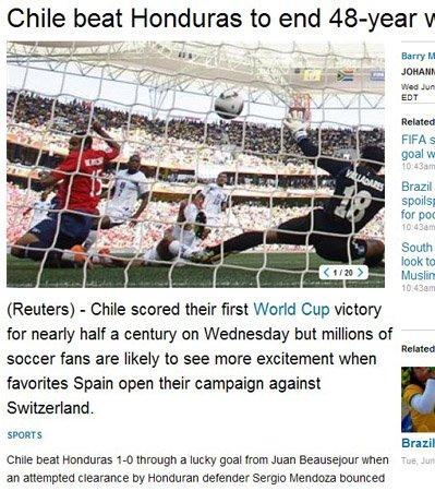 路透社:智利幸运之球取胜 终结半世纪等待
