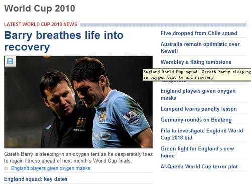 英格兰大将仿鲁尼小贝 高科技设备助阵世界杯