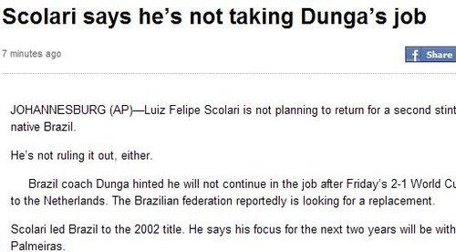 巴西主帅新人选难敲定 斯科拉里态度模棱两可