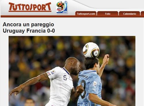 都灵体育报:法国毫无进步 乌拉圭锋线有潜力